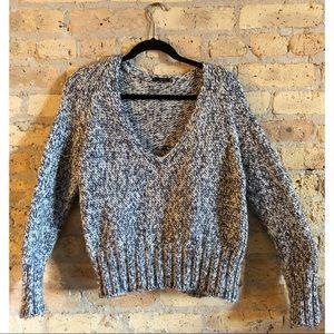 Zara Knit Navy Blue & White Sweater Top